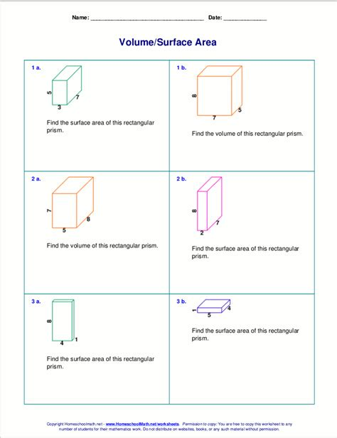 Free Worksheets For The Volume And Surface Area Of Cubes & Rectangular Prisms