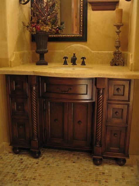 hand  custom distressed alder bow front bathroom