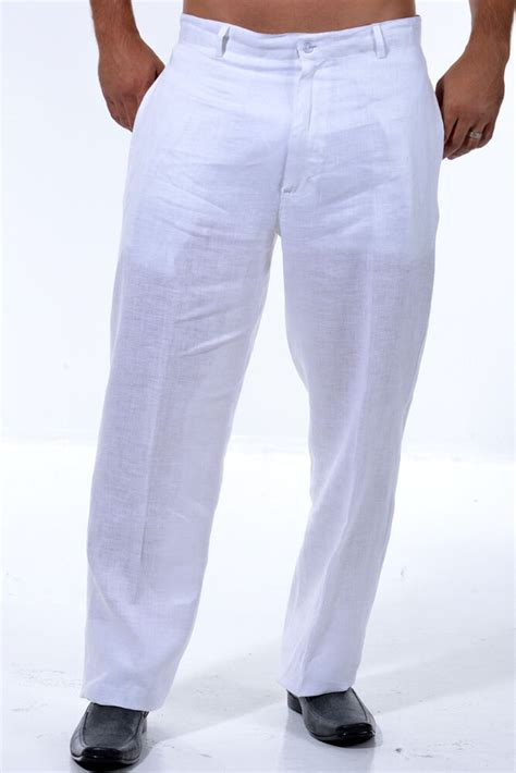 mens  linen white flat front casual dress pants