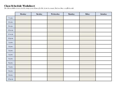 printable blank class schedule printableecom