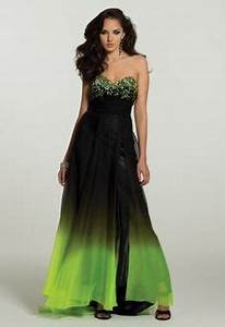 NEON GREEN AND BLACK OMBRE PROM DRESS on The Hunt