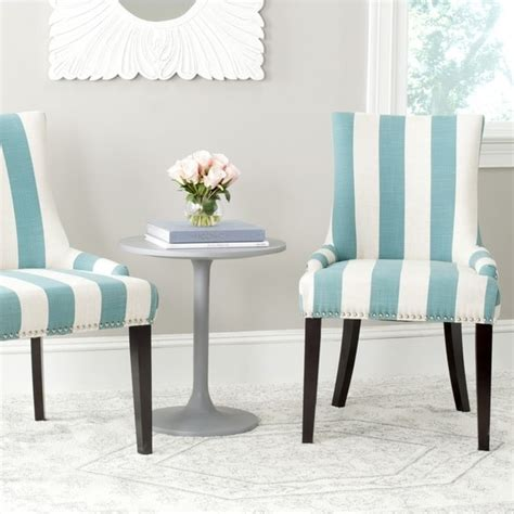 safavieh en vogue dining lester aqua blue white stripe