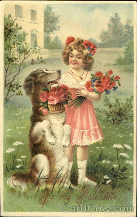 girl  sitting dog holding flowers animals