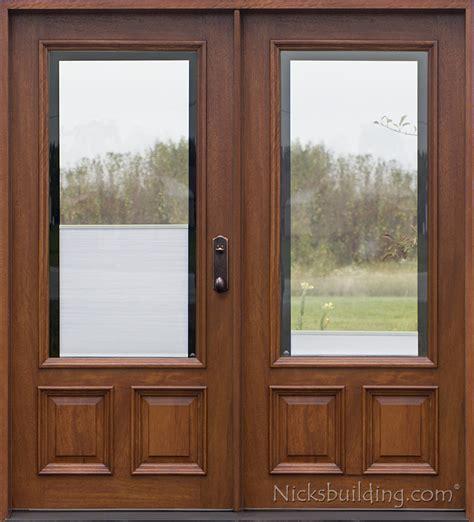 wood front doors with glass doors 3 4 arch mahogany prehung wood door