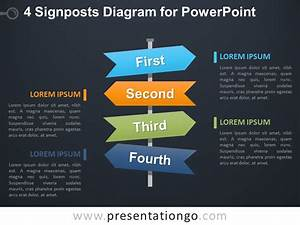 4 Signposts Diagram For Powerpoint