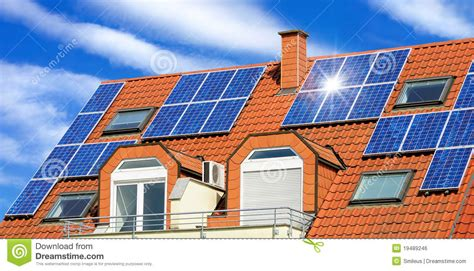 solar panel   red roof stock photo image