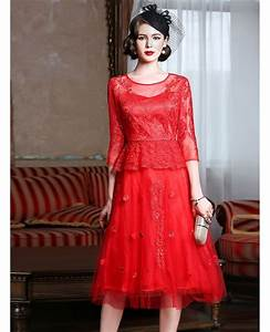 Knee length red lace a line party dress for wedding guests for Knee length dresses for wedding guests