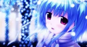 blue hair, short hair, blush, anime, scarf, purple eyes ...