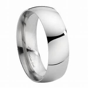 mens stainless steel wedding band polished domed With stainless steel mens wedding ring