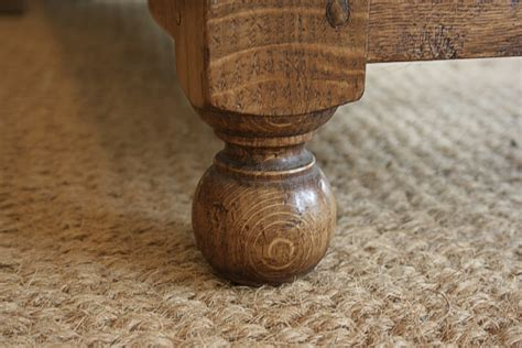 ball foot detail  reproduction oak tv stand