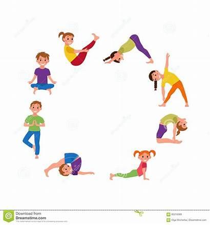 Yoga Poses Cartoon Children Gymnastics Healthy Happy