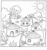 Village Colouring Jungle Coloring Mosaic Scenes Za sketch template