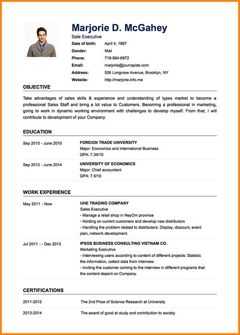 Simple Cv Layout by 8 Exle Of A Simple Cv Layout Penn Working Papers