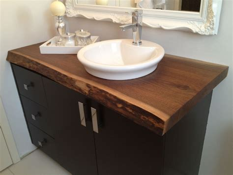 made live edge black walnut bathroom countertop by