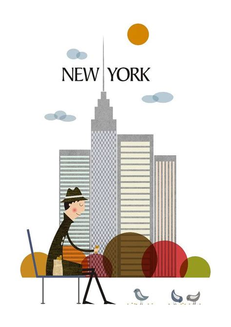 New York, Illustration Of City, Poster City, Cool Poster, Size A3  Tomas Pernickytomasdesign