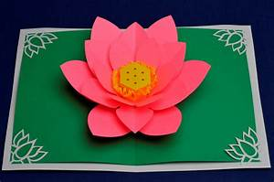 lotus flower pop up card template creative pop up cards With flower pop up card templates