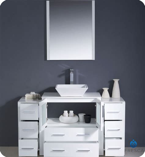 fresca torino  white modern bathroom vanity  side
