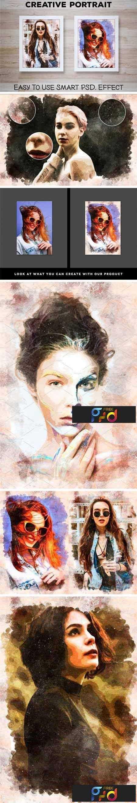 creative portrait smart psd effect  freepsdvn