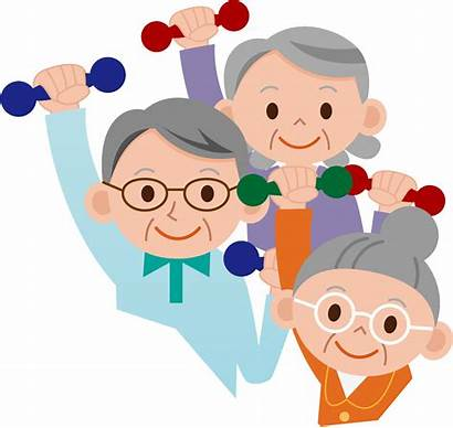 Clipart Elders Exercise Cartoon Elderly Exercising Older