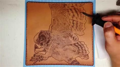 leather burning owl wallet pyrography art youtube
