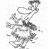 Cartoon Drunk Hula Coloring Man Dancing Leishman Ron Vector Outlined Dancer Pages Royalty Template Sketch sketch template