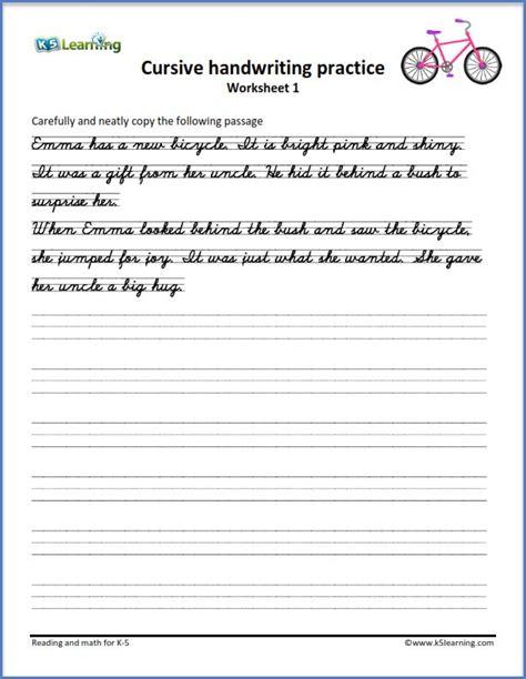 writing cursive passages   printable worksheets