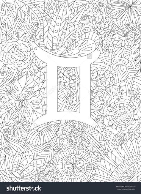 zodiac sign gemini floral geometric doodle pattern