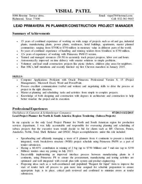 primavera p6 scheduler project manager vishal patel resume