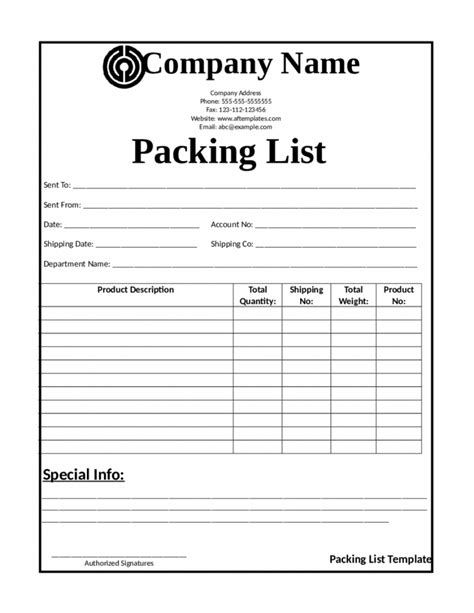 Packing List Template Packing List Template List Template Trakore Document