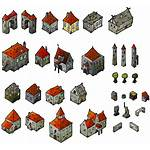 Medieval Map Isometric Elements Houses Fantasy Cartography