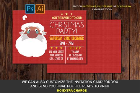 Christmas Invitation Card AI EPS PSD files (364925