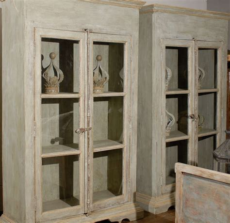 Glass Door Bookcases Sale by A Painted Wooden Bookcase With Glass Doors For Sale At 1stdibs