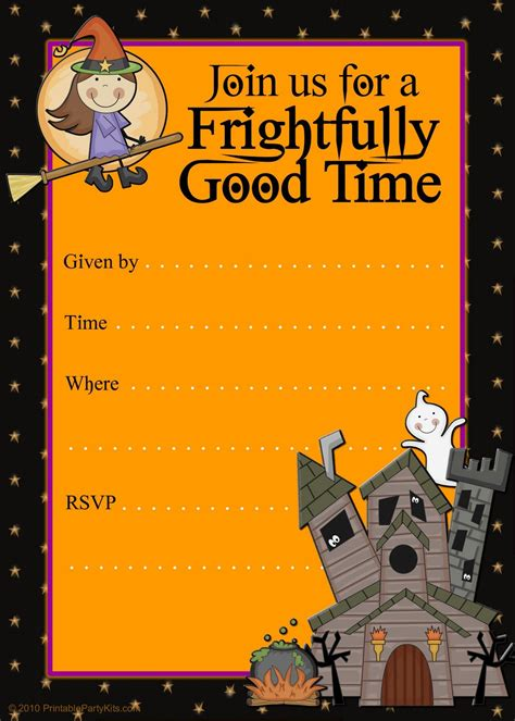 kids halloween party invitations template  template