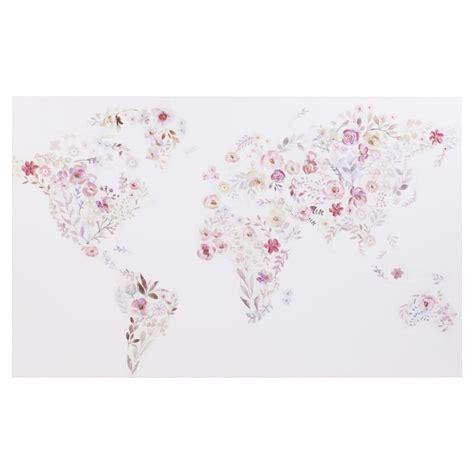 toile carte du monde toile imprim 233 e carte du monde fleuri 80x50 maisons du monde