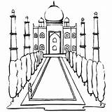 Mahal Taj Coloring India Outline Pages Colouring Netart Clip Searches Recent sketch template