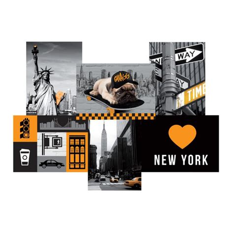 toile imprim 233 e city quot new york quot 49x35cm jaune
