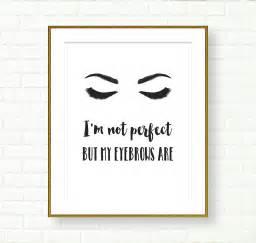 Makeup Vanity Idea by Bathroom Printable Black White Eyebrows Quote Vanity Decor