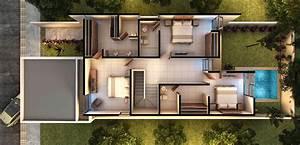 Plano de casa moderna de dos pisos con cochera doble