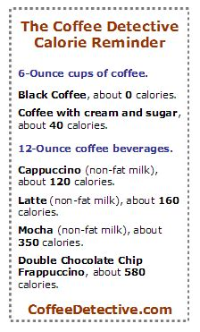 Calories present in coffee with cream. Are there many calories in coffee?