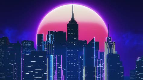 80s Neon City Wallpaper by 1920x1080 Synthwave City Retro Neon 4k Laptop Hd