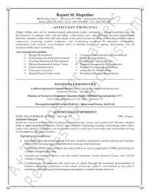 education resume template principal assistant principal resume sle page 1