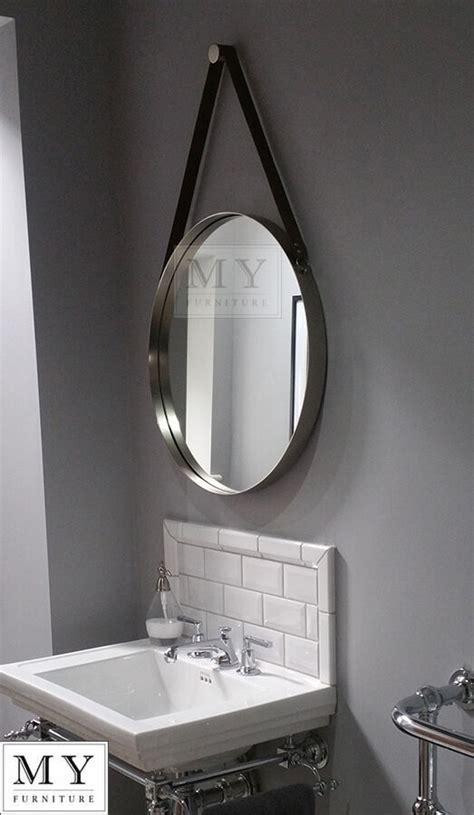 large bathroom  wall mirror  leather strap