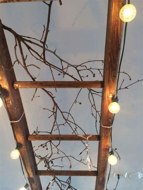vintage wooden ladder  great lighting