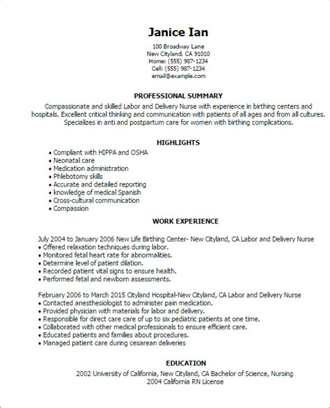 Labor And Delivery Resume Template professional labor and delivery templates to showcase your talent myperfectresume