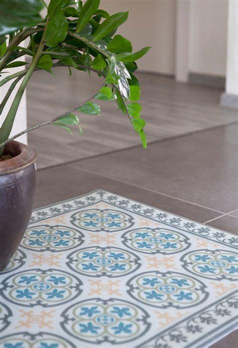PVC vinyl mat Tiles Pattern Decorative linoleum rug Blue