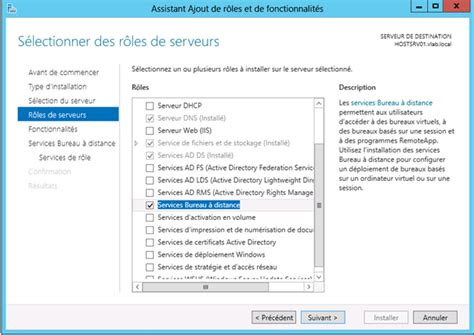 service bureau à distance windows server 2012 installation du rôle de gestionnaire