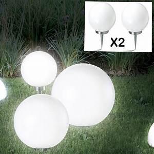 Lampe Solaire Terrasse : lampe boule 15 cm led solaire x2 eclairage et d coration ~ Edinachiropracticcenter.com Idées de Décoration