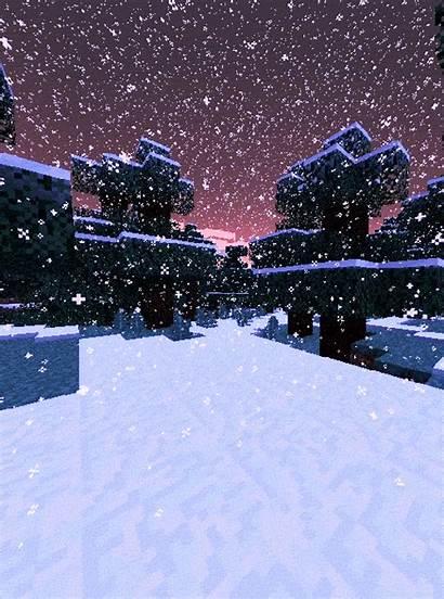 Minecraft Winter Gifs Animated Snow Building Scenery