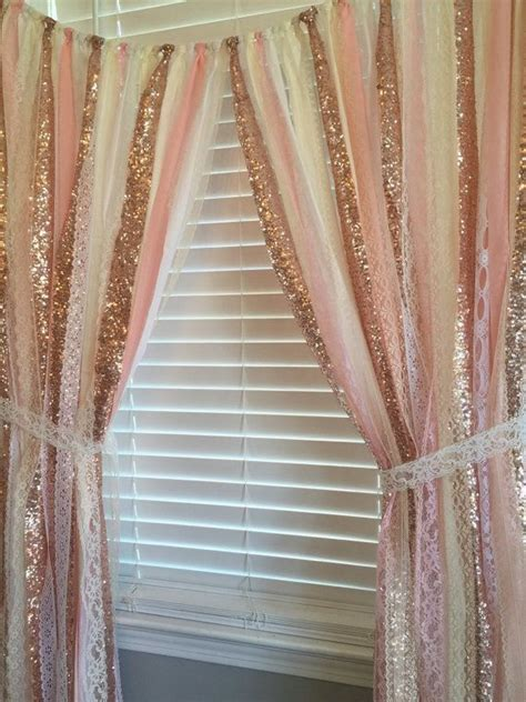 rose gold sparkle sequin garland curtain  lace