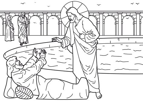 Coloring Page Jesus Healing Paralyzed Man Coloring Pages